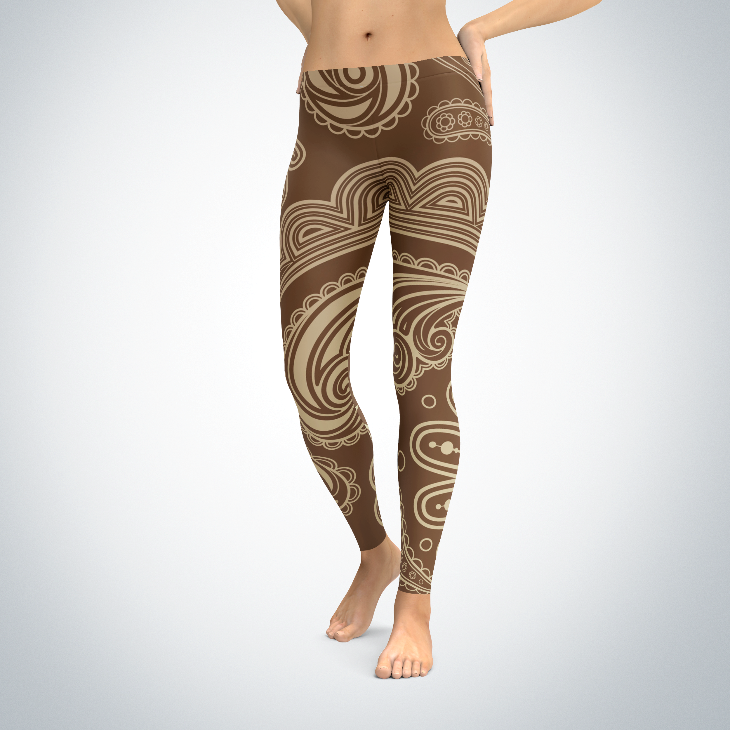 Brown Damaskish - Leggings