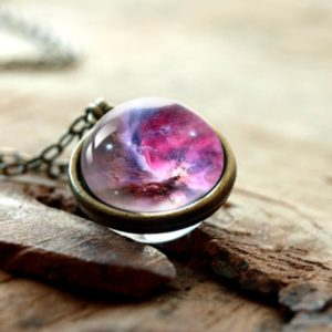 2019 New Nebula Galaxy Double Sided Pendant Necklace Universe Planet Jewelry Glass Art Picture Handmade Statement Necklace 2