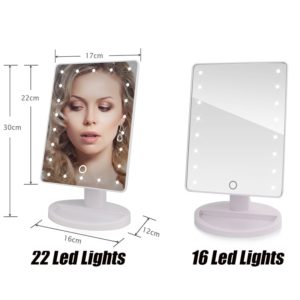 22 LED Lights Touch Screen Makeup Mirror 1X 10X Table Desktop Countertop Bright Adjustable USB Cable Or Batteries Use 16 Lights 1