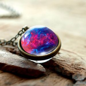 2019 New Nebula Galaxy Double Sided Pendant Necklace Universe Planet Jewelry Glass Art Picture Handmade Statement Necklace 3