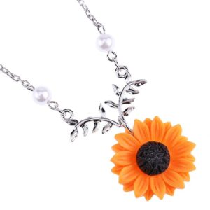 Delicate Sunflower Pendant Necklace For Women Creative Imitation Pearls Jewelry Necklace Clothes Accessories 5