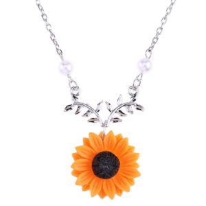 Delicate Sunflower Pendant Necklace For Women Creative Imitation Pearls Jewelry Necklace Clothes Accessories 4