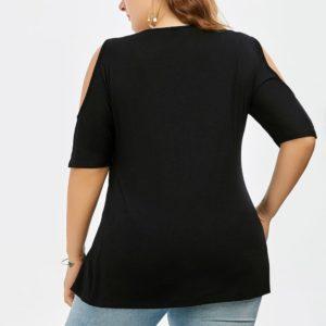 2019 Plus Size Women Lace Trim V Neck Loose Cold Shoulder Blouses Tops Summer Top Casual Short Sleeve Blouse Female Shirt Blusa 2