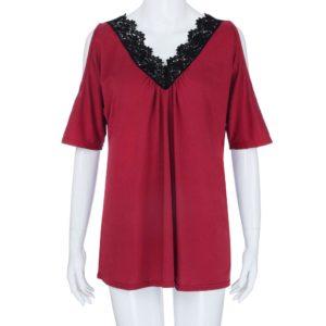 2019 Plus Size Women Lace Trim V Neck Loose Cold Shoulder Blouses Tops Summer Top Casual Short Sleeve Blouse Female Shirt Blusa 5