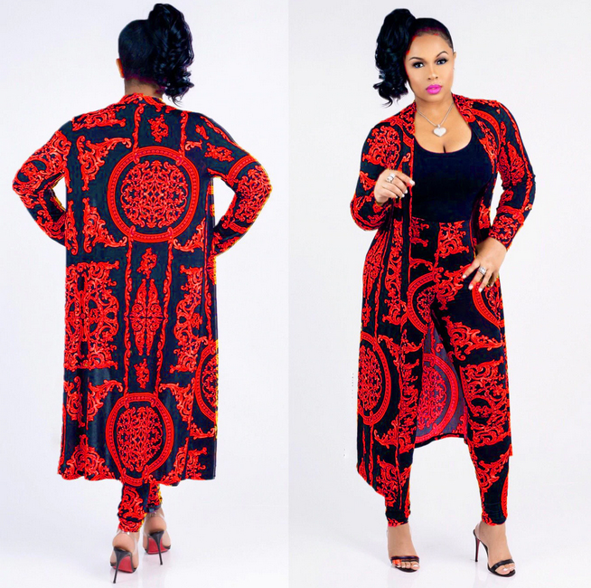 2 Piece Floral Print Set Cardigan Long Trench And Body-con Pant