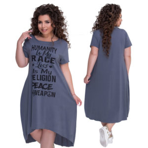 Plus Size Letters Printed Short Sleeve Mid-Calf Dress Vestidos L-6XL Big Size Casual Irregular Loose Dress Women Autumn Dresses