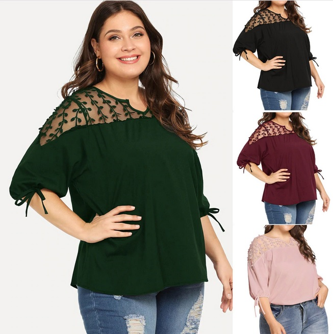 Plus Size - Ribbons Lantern Half Sleeve Blouse